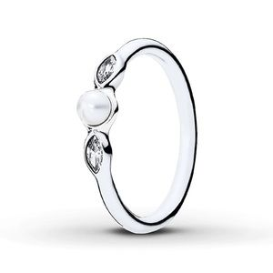 White Pearl and clear cubic zirconia Pandora Ring